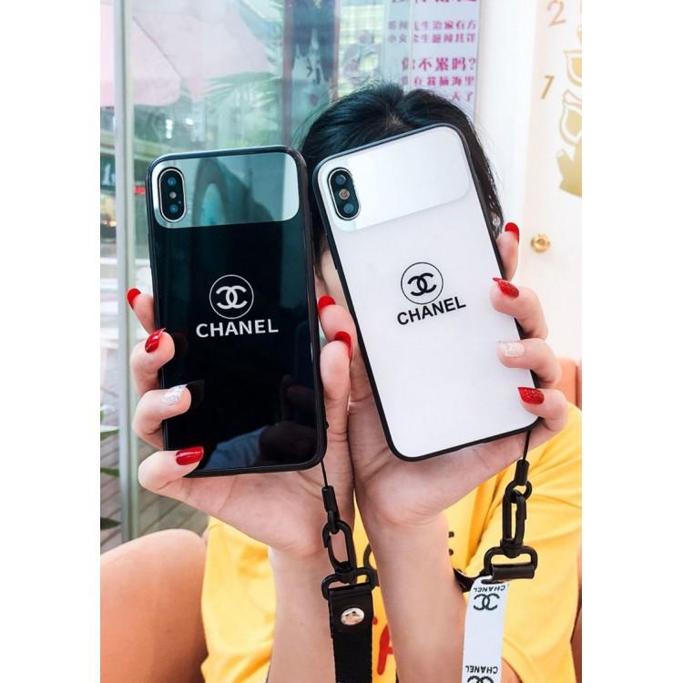 シャネル ブランド 鏡付 ストラップ付き キラキラ風 Chanel iphone 12/12 mini/12 pro max11/se2/x/xs/xrケース ガラス シンプル メイク 芸能人愛用 全機種対応 レディーズ