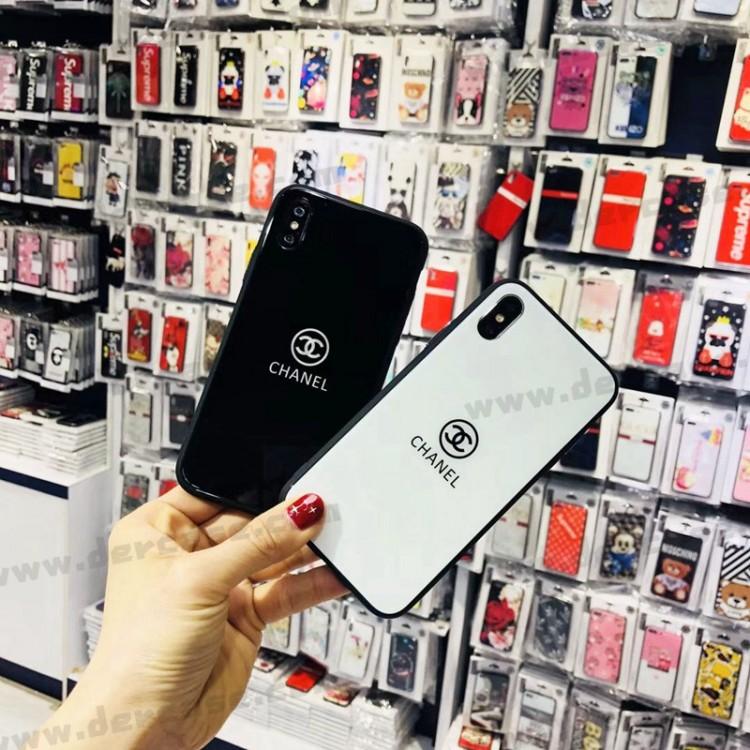 シャネル 黒白色ガラス製 全機種対応 AQUOS zero 5G basic/zero2/sense3/4/4 plus/R5Gケース カッコイイ Galaxy A51 ペアお揃い xperia 5 ii/1 iii/10 iii/8/ace/xz ジャケット iPhone 12 Pro Maxスマホケース コピー