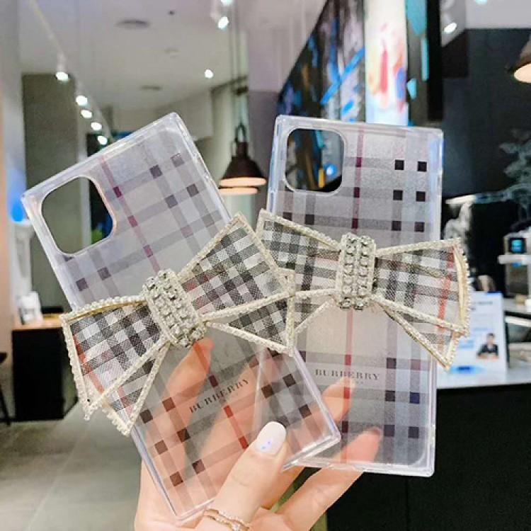 Burberry/バーバリー ブランド iphone12 mini/12/12pro/12pro max/11pro maxケース かわいい ラインストーン 蝶結び iphone 11/12 pro max/xr/xs maxケース クリア iphone 11/x/8/7スマホケース LINE注文可 レディース