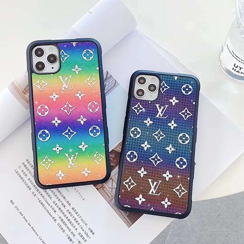 ルイ·ヴィトン iphone 12/12 mini/12 pro/12 pro maxケース 可愛い オーロラ ブランド LV レインボー モノグラム iPhone11/11 pro/11 pro maxケース カラー ジャケット型 アイフォンx/xs/xs max/xr/8/7 plus/se2カバー コピー メンズ レディース