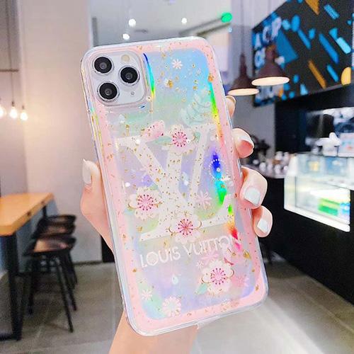 ルイヴィトン ブランド iphone 12/12 pro/12 mini/12 pro maxケース 韓国風 クリアケース きらきら lv ストランプ柄 iPhone 11/ 11 pro/11 pro maxケース セレブ愛用 アイフォンse2/x/xs/xr/8/7カバー