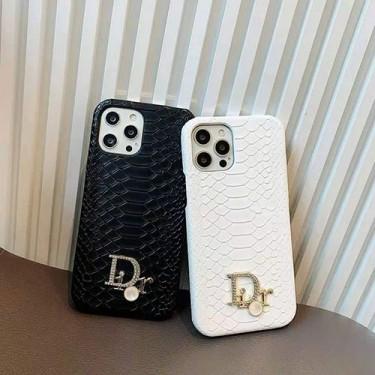 ディオール ブランド iphone13/12 pro max/11 pro max/se2ケース 高級革 iphone 12Pro /11pro/xs max/8 plus ケース 蛇紋 個性 アイフォン 12mini /11/xs /7 plus/8 ケース Dior 立体 ロゴ 派手 iphoneX/XRケース 贅沢 黒白