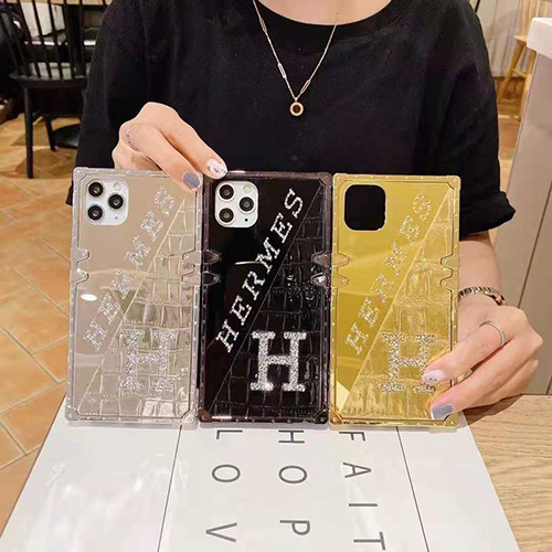 Hermes エルメス iphone13/12s/12 pro max/11 pro max/xr ケース 贅沢 鏡面 iphone 12Pro /11pro/xs max/8 plus ダイヤ付き きらきらアイフォン 12mini /11/xs/ max/7 plus/8 ケース きれい 個性 方形 iphone11/X ケースレディース向けファッション