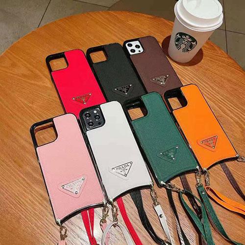 PRADA ブランド iphone 13/12/12 pro/12 mini/12 pro max/11/11 pro/11 pro max/se2ケース プラダ ステッチ式 モノグラム ラムスキン レザー ストランプ付き アイフォンx/xs/xr/8/7カバー レディース
