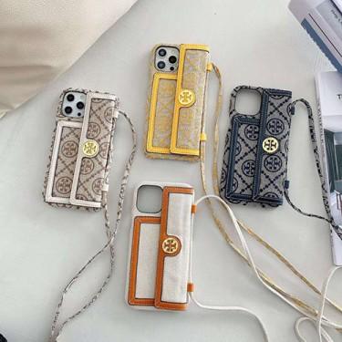 Troy burchトリーバーチアイフォン13/12 pro/12 pro max/12 mini/12スマホケース布製バッグ型ジャケットiPhone11/11 pro/11 pro maxブランドカバー 女の子向けポケット付きカード収納アイフォンxr/xs max/xケース ストラップ付き 斜め掛け 携帯便利