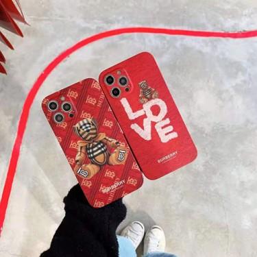 バーバリーブランド iphone12/12pro maxケース LOVE かわいい BURBERRY セレブ愛用 熊柄 iphone12 mini/12pro/11/x/8/7 plus/6ケース 大人気 ファッション