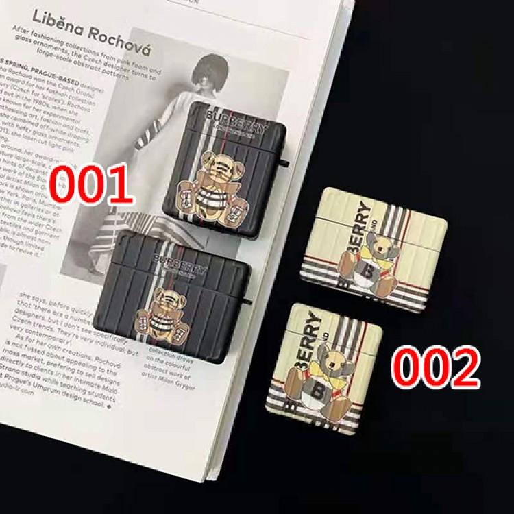 バーバリー ブランド収納 可愛い airpods pro1/2 ケース 熊柄 ブランドエアーポッズプロケース高品質 Airpods proケース チェーン付き 携帯便利 紛失防止