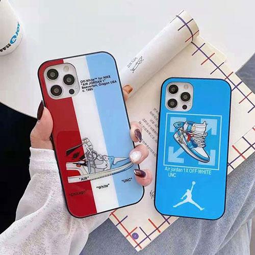 オフ-ホワイト ブランド白光のガラス製ケースナイキiphone12/12pro maxケースジョーダン個性潮 iphone x/xr/xs/xs maxケースファッション ins風 iphone 7/8/ se2ケース 大人気