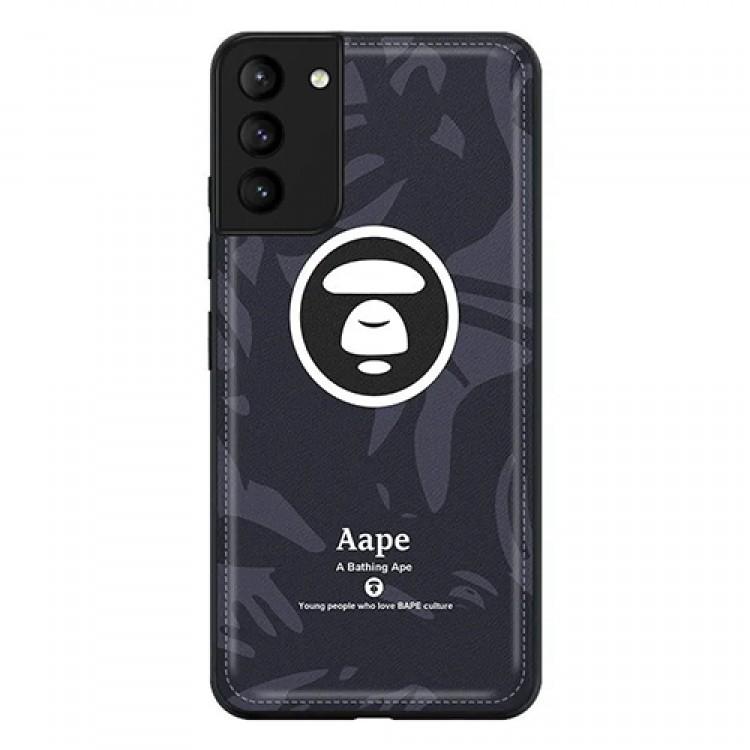 Aape カモフラージュ色 猿頭柄 iphone 12 mini/12 pro max/11 pro max/se2ケース レザー 個性 ブランド ins風 エーエイプ A Bathing Ape ステッチ Galaxy s21/21+/21ultraカバー メンズ レディース愛用
