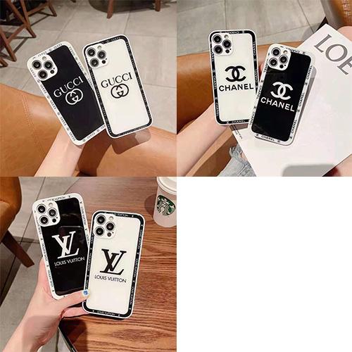ハイブランド ルイヴィトン iphone 13/13 pro/13 mini/13 pro maxケース四週ロゴ入れ シャネル 黒白iphone12 pro/12 pro max/12 mini /12スマホケース レンズカバー 保護 gucci アイフォン se2/11/11 pro/11 pro maxケース シンプル 高級 ペア揃い