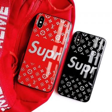 シュプリーム ルイヴィトン コラボ ブランド iphone12/12mini/12pro/12pro maxケース かわいい ガラス LV Supreme galaxy s20/A20 女性向け xperia1/10 IIケース アイフォン11/x/8ケース ファッション メンズ レディース