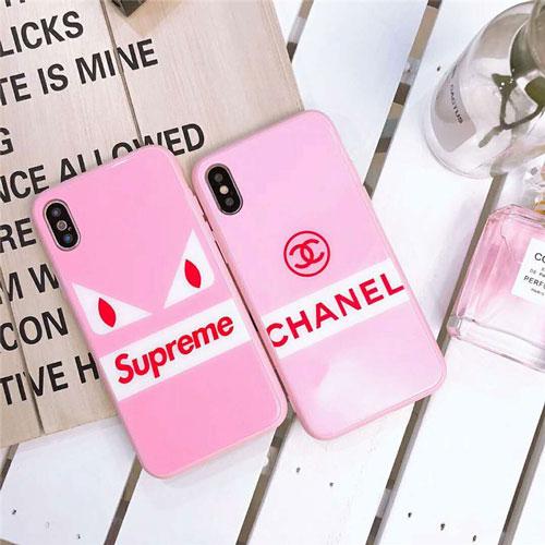 シュプリーム シャネル ブランド 背面ガラス iphone 12/12 pro/12 mini/12 pro max/11/11 pro/11 pro max/se2ケース キラキラ 悪魔の目 Chanel 四角保護 Supreme ピンク色 モノグラム アイフォンx/xs/xr/8/7/6カバー レディース