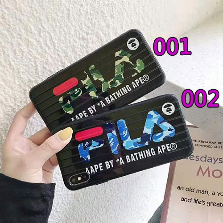フィラ iphone 12/12mini/12pro/12pro maxケース 経典 FILA スーツケース型 BAPE アイフォンiphone12/xs/11/8 plusケース 迷彩 エーエイプ おまけつき ジャケット型 2021 ファッション iphone12ケース 高級 人気 メンズ レディース