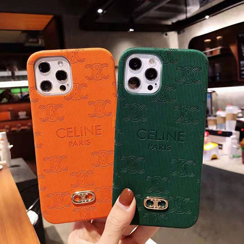 CELINE iphone 12 pro/12 mini/12 pro max/11/11 pro/11 pro max/se2ケース ハイブランド エンボス加工 セリーヌ 金属 アイフォン12/x/xs/xr/8/7カバー 芸能人愛用 女性向け