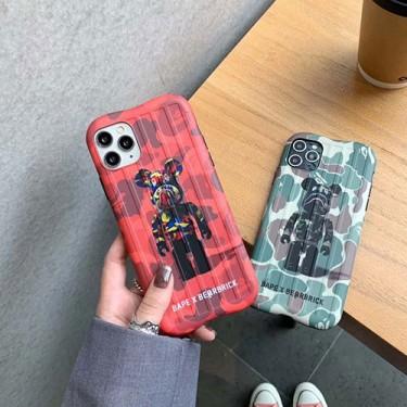 BAPE&BE@RBRICK コンボ ブランド iphone 12/12 pro/12 mini/12 pro max/11/11 pro/11 pro max/se2ケース エーエイプ 迷彩 モリチャック iPhone X/XS/XRケース Aape 熊柄 スーツケース型 bearbrick アイフォンx/xs/xr/8/7カバー メンズ レディーズ