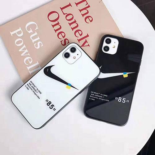 ナイキ オフホワイト コンボ iphone 12/12 pro/12 mini/12 pro max/11/11 pro/11 pro max/se2ケース 背面ガラス NIKE 黒白 モノグラム OFF-WHITE きらきら アイフォンx/xs/xr/8/7/6カバー メンズ レディース
