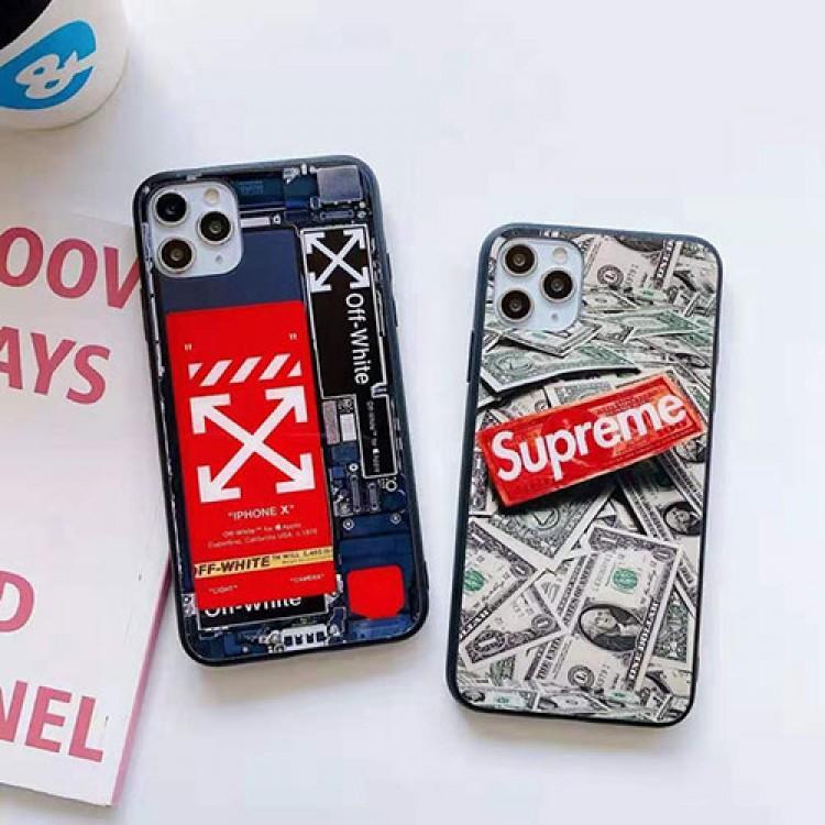 シュプリーム ブランドiphone12mini/12pro max/11/xs/x/8/7/6ケース かわいい 米ドル 背面ガラス off-white アイフォン12カバー 電子ボード ins風 オフホワイト ジャケット型 ペアお揃い supreme ファッション レディース