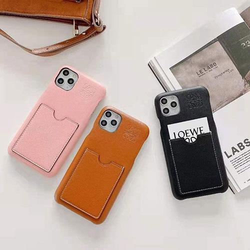 LOEWE ブランド iphone12/12 pro max/11pro maxケース 無地 レザー ロエベ カード入れ モノグラム シンプル ins風 かわいい アイフォン12 mini/12 pro/11/xr/xs/x/8/7ケース ファッション 大人気 メンズ レディース