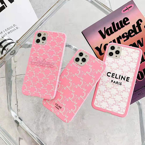 Celine ブランド AQUOS Zero5G Basic/R5G/sense4ケース 刺繍風 セリーヌ iphone 12 mini/12 pro max/11ケース シリコン 柔らか CELINE 韓国風huawei p40 ピンク 全機種対応 メンズ レディース向け