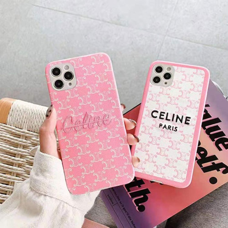 Celine セリーヌ ブランド ケース 刺繍風 iphone 12 mini/12 pro max/11ケース シリコン 柔らか CELINE 韓国風huawei p40 ピンク 全機種対応 メンズ レディース向け