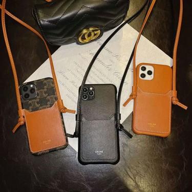CELINE ブランド iphone 12/12 pro/12 mini/12 pro max/11/11 pro/11 pro max/se2ケース セリーヌ 凱旋門式 モノグラム ラムスキン レザー ストランプ付き ポケット カード入れ アイフォンx/xs/xr/8/7カバー レディース