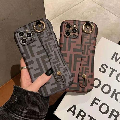 フェンディ ブランド iphone 12 pro/12 mini/12 pro max/11/11 pro/11 pro max/se2ケース FF柄 リング付き FENDI 耐衝撃 ins風 ハンドバンド iPhone12/X/XS/XRケース モノグラム ジャケット型 アイフォンx/xs/xr/8/7/6カバー レディーズ