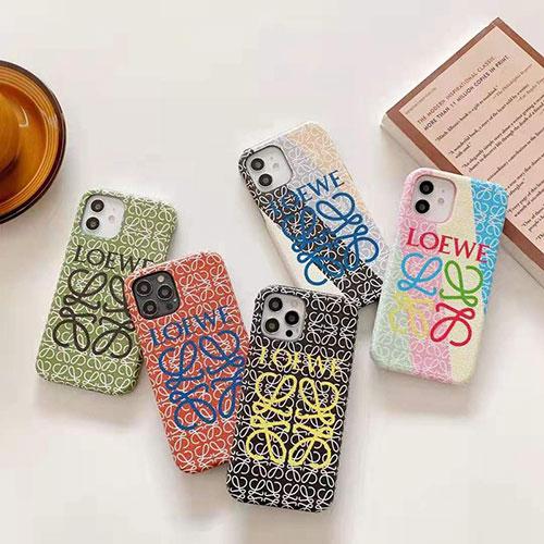 LOEWE ブランド iphone12/12 pro max/11 pro/11 pro maxケース 韓国風 レザー カラー モノグラム ロエベ シンプル かわいい アイフォン12 mini/12 pro/11/xr/xs/x/8/7/6ケース ファッション 大人気 芸能人向け メンズ レディース