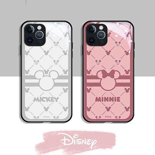 ディズニー ブランドIPhone 13Pro max/13Pro/13mini/13ケース 背面ガラス 保護 かわいい Disney アイフォン12mini /12pro max/12/12proカバー 面白いミッキーとミニー柄 iphone 11 pro/11 pro max/11ケース ファッション 人気 ペア揃い