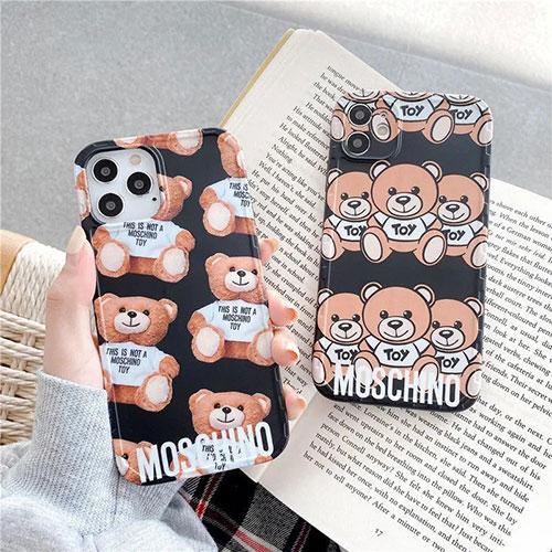 モスキーノ iphone 12 mini/12 pro max/11 pro max/se2ケース ブランド 可愛い Moschino ぬいぐるみ テディベア インスタ風 アイフォン12/12 pro/11/11 pro/x/xs/xr/8/7カバー レディース