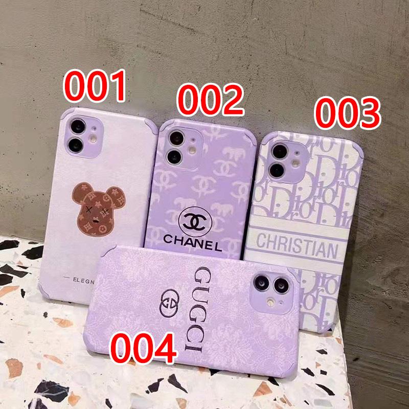 シャネルiphone13/12 pro maxケース紫