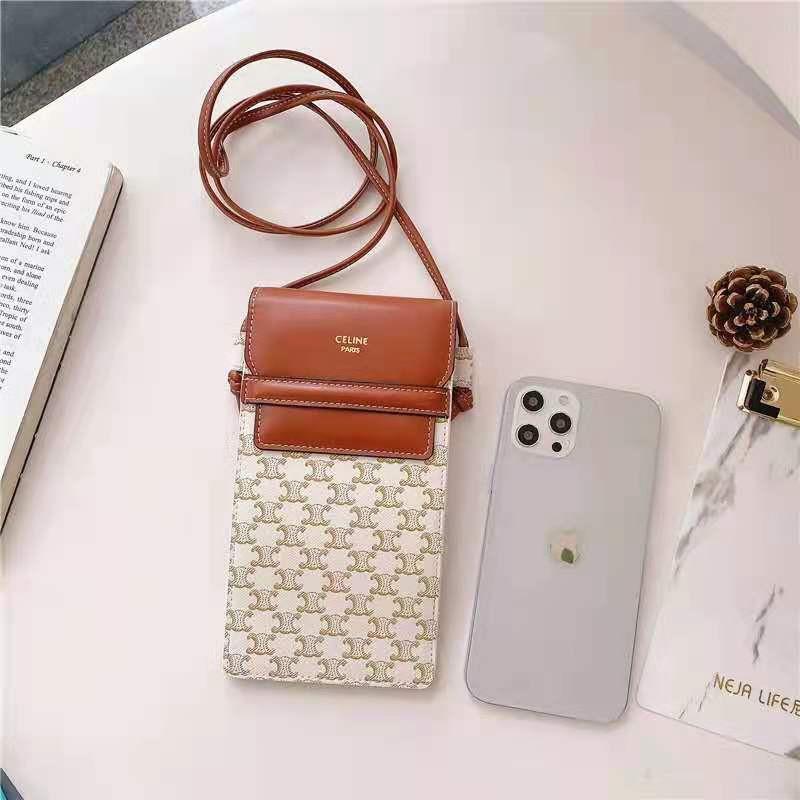 Celine ショルダーバッグ型 iphone 12mini/12pro maxケース ブランド 斜め掛け 無地 aquos r5g/zero 5g basicケース ストラップ レザー シンプル セリーヌ Galaxy S21