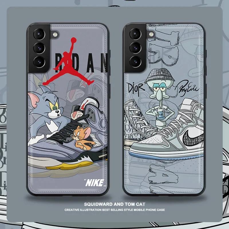 ナイキAJディオールブランドGalaxy s21/s21+/s21 ultra/s20/note20ケース 革製 猫と鼠 イカルドiphone12pro/12pro max/12mini/11四角防止 男女通用