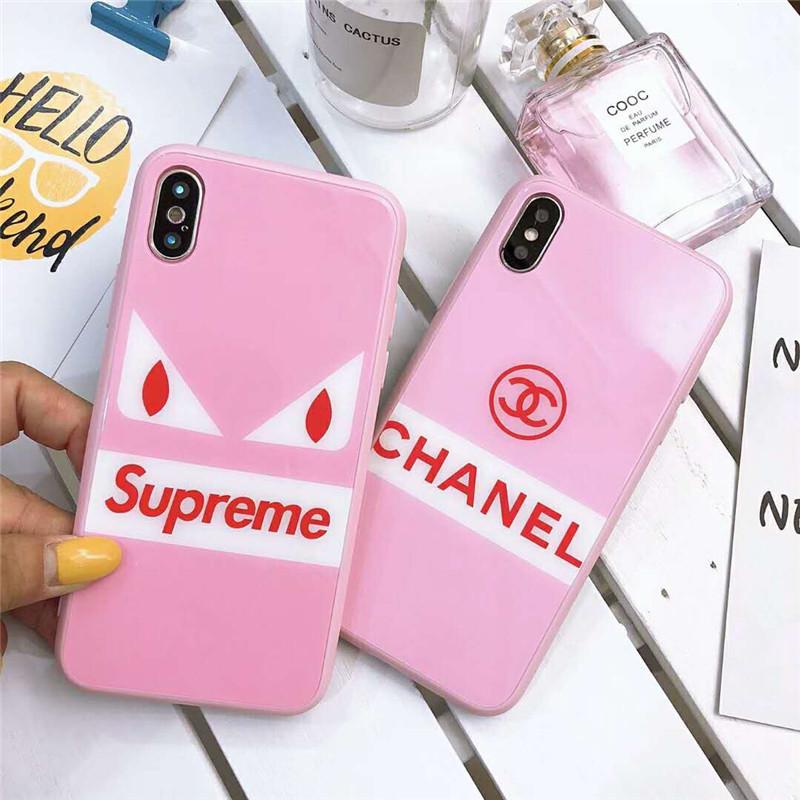 シュプリーム シャネル ブランド 背面ガラス iphone 12/12 pro/12 mini/12 pro max/11/11 pro/11 pro max/se2ケース キラキラ Chanel 四角保護 Supreme ピンク色 悪魔の目