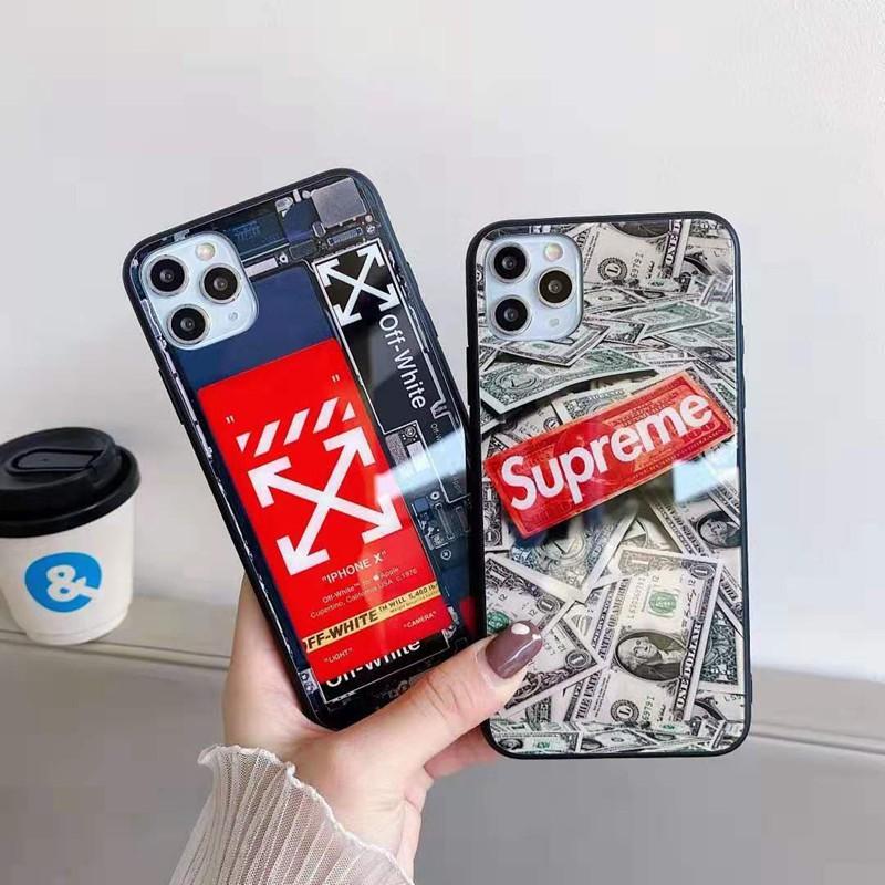 シュプリーム ブランドiphone12mini/12pro max/11/xs/x/8/7/6ケース かわいい 米ドル 背面ガラス off-white