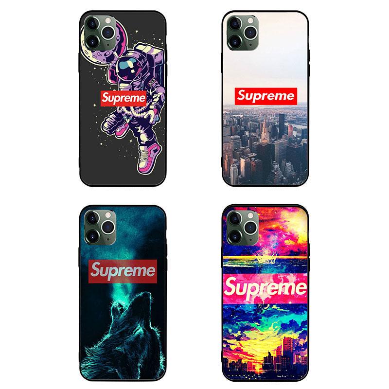 Supreme ブランド AQUOS Zero5G Basic/R5G/sense4ケース 背面ガラス シュプリーム 狼柄 宇宙飛行士 月球 iphone 12mini/11 きらきら xperia 1 II/5ii/10ii モノグラム Galaxy S20 全機種対応