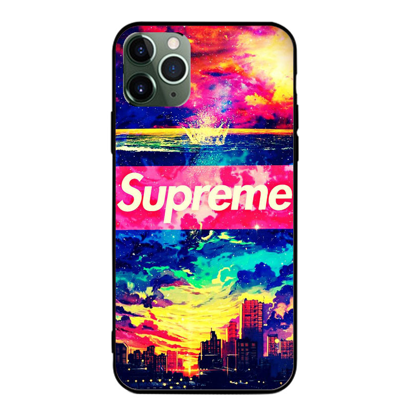SupremeシュプリームAquos R5Gケースxperia5ii全機種対応 ブランドiphone12mini 都市 彩色 ガラス ジャケット型 モノグラム Galaxy S20/a51 女性
