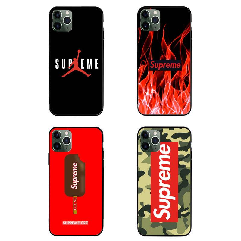 Supreme ブランド AQUOS Zero5G Basic/R5G/sense4ケース 背面ガラス シュプリーム AJ ジャケット型 ジョーダン 迷彩色 iphone 12mini/12pro max/11 pro max きらきら