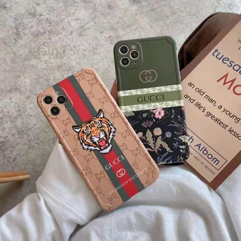 グッチGucciブランドiphone12pro/11/12 mini/12pro max/se2ケース 可愛い 縞柄 蒲公英 虎頭 花蝶植物 モノグラム 男女通用 アイフォン11pro/x/xs/xr/8/7カバー