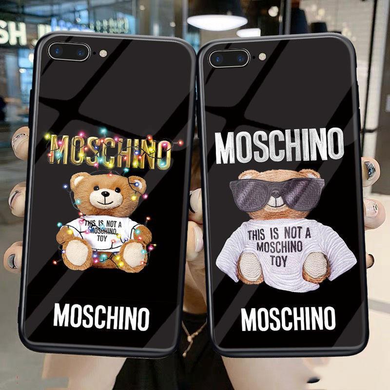 モスキーノ ブランド iphone 12/12 pro/12 mini/12 pro max/11/11 pro/11 pro max/se2ケース ぬいぐるみ テディベア柄 背面ガラス